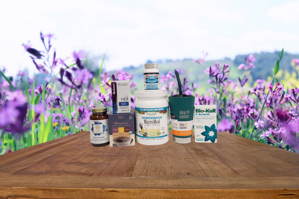 a selection of all-natural supplements and superfoods