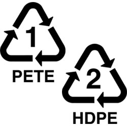 plastic recycling symbols 1 and 2