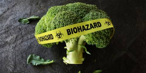 A broccoli floret wrapped in biohazard tape