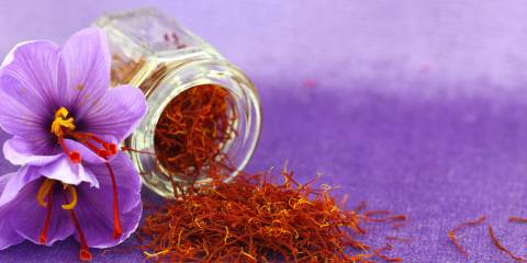 A small jar of saffron next to a saffron flower