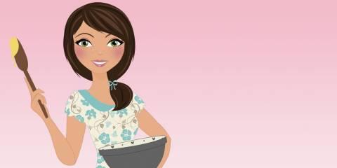 Gluten free woman baking