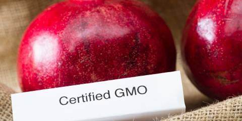 "Some pomegranates labeled as ""Certified GMO"""