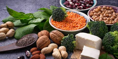 A variety of vegetarian foods high in protein content