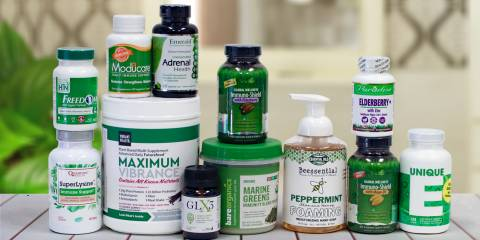 a collection of all-natural supplements, superfoods, and body care products