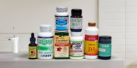 a selection of all-natural supplements