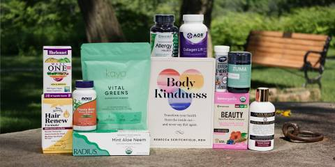 a selection of all-natural products and a book