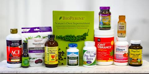 a wide variety of all-natural supplements and a book