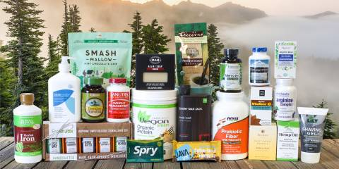 A huge collection of all-natural supplements, snacks, and body care products for men
