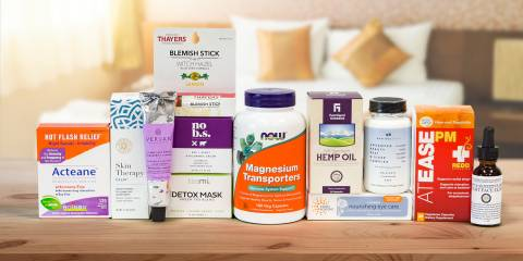 A selection of supplements and body care products for well-being