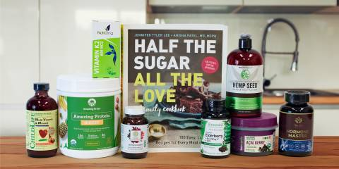 all-natural supplements, superfoods, and a book of low-sugar recipes