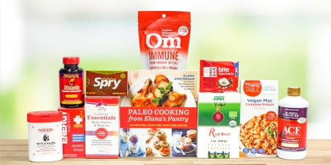 A selection of all-natural supplements, body-care products, and food