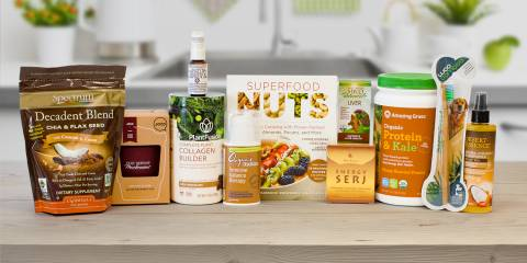 a selection of all-natural foods, supplements, and body care products