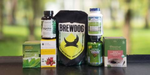 a wide variety of supplements and a dog bandana