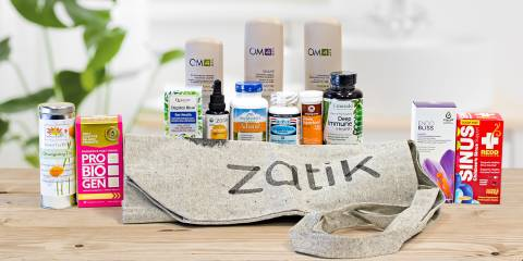 a selection of all-natural body care, immunity, and sinus products