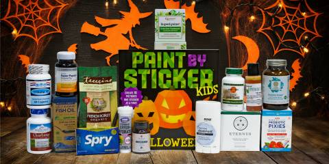 a variety of all-natural supplements and a sticker pack for halloween