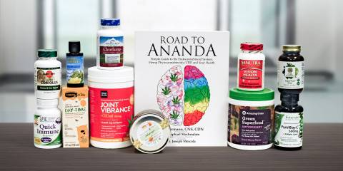A selection of all-natural supplements and a book about CBD