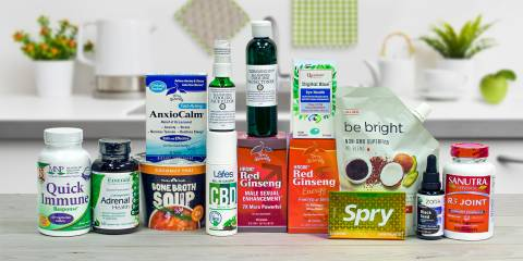 a selection of all-natural supplements for vitality, energy, and relaxation