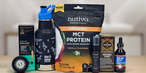 a selection of all-natural supplements and other products