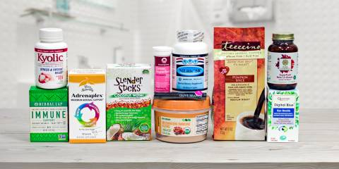 a collection of all-natural foods and supplements