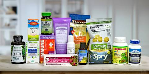 a collection of all-natural supplements, body care products, and food