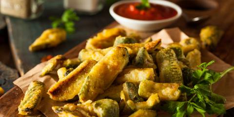 Homemade zucchini fries with marinara.