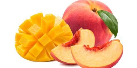sliced mango and peaches