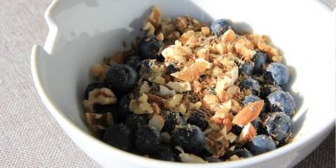 A bowl of Blueberry Morning breakfast.