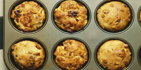 Date and walnut muffins in a muffin tin