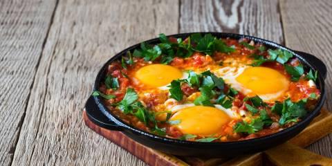Huevos Rancheros in a skillet.