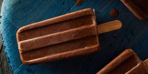 a frozen dairy-free pop with chocolatey flavor