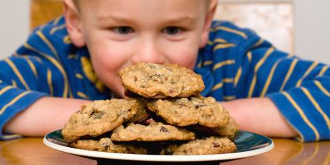 Child looking at cookies