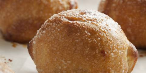 Close up of a apple dumpling.