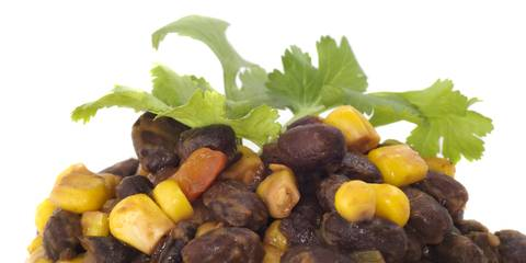 Black beans, corn kernels and cilantro