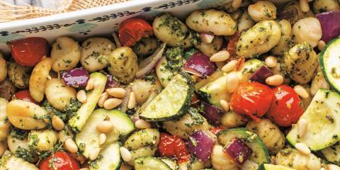 Pesto-Roasted Gnocchi & Veggies ready to serve in a pan.