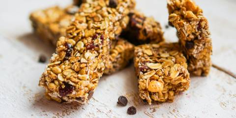 Granola bars with oats, seeds, and chocolate chips