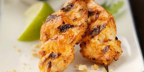 Marinated chicken on skewers