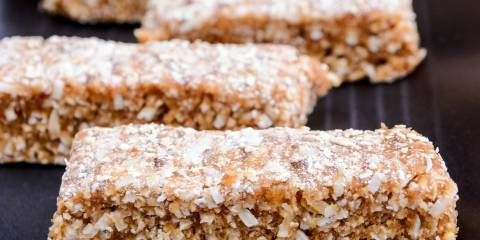 Close up of homemade date bars