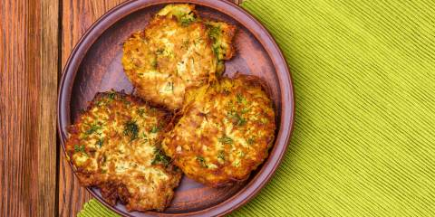 A plate of traditional potato latkes for Hannukah