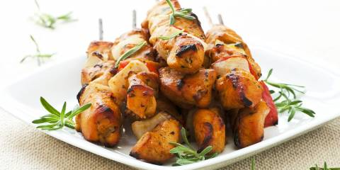Caribbean marinated, grilled chicken skewer