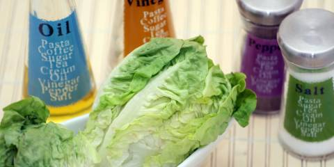 Romaine lettuce, oil, and seasonings