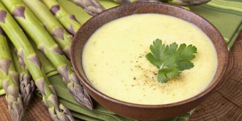 A creamy bowl of asparagus soup