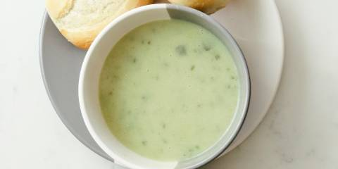 a creamy bowl of green soup