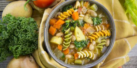 A bowl of Italian cannellini bean and pasta soup