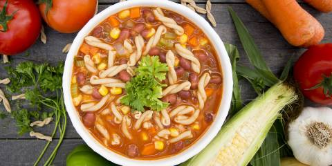 A bowl of red bean pasta soup
