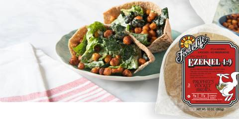 pita pockets stuffed with chickpeas and greens