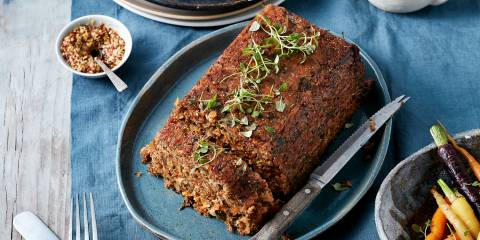 Vegan stuffing cooked as a loaf for slicing