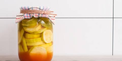 A jar of pickled summer squash