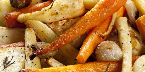 Freshly roasted potatos, carrots, and parsnips