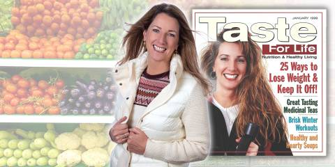 Holly Connell on the cover of Taste For Life magazine, then and now