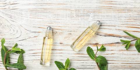 Minty Lip Smoother in roller bottles with fresh mint leaves.